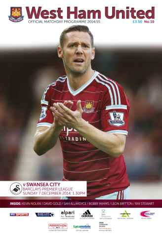 West Ham Utd Official Programmes issue SWANSEA CITY BPL