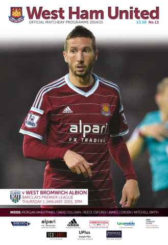 West Ham Utd Official Programmes issue WEST BROMWICH ALBION
