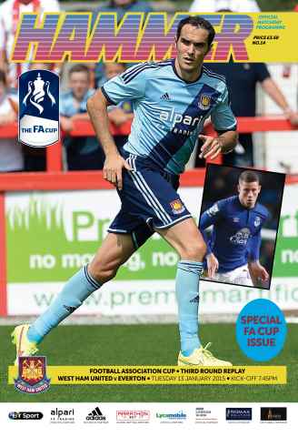 West Ham Utd Official Programmes issue EVERTON FAC