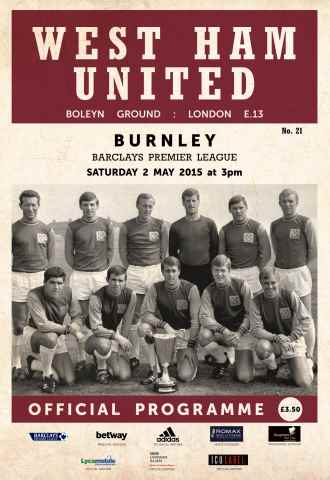 West Ham Utd Official Programmes issue BURNLEY BPL
